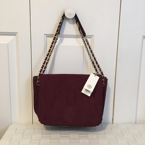 1bf9967f8b1f NWT Tory Burch Marion suede small shoulder bag